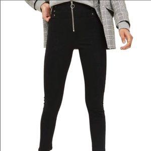 Topshop Black High Waist Corset Zip Jamie Jeans.